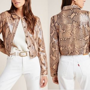 Anthropologie Python Textured Trucker Jacket
